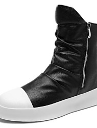 cheap -Men's Shoes PU Spring Fall Fashion Boots Boots Mid-Calf Boots For Casual White Black Black/White