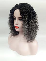 Недорогие -Парики из искусственных волос Кудрявый С чёлкой Искусственные волосы Боковая часть Серый Парик Жен. Средние Без шапочки-основы
