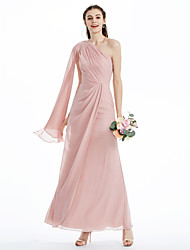 cheap -A-Line Princess One Shoulder Ankle Length Chiffon Bridesmaid Dress with Pleats Side Draping Criss Cross by LAN TING BRIDE®