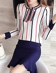 cheap -Women's Going out Casual Winter Fall Sweater Skirt Suits,Striped Round Neck Long Sleeves Spandex