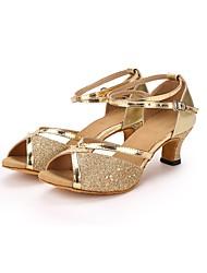 preiswerte -Damen Schuhe für den lateinamerikanischen Tanz Paillette / Kunstleder Absätze Pailetten Maßgefertigter Absatz Maßfertigung Tanzschuhe Gold