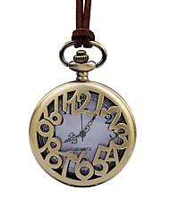 Недорогие -Муж. Карманные часы Китайский Кварцевый Крупный циферблат Кожа Группа Elegant Коричневый