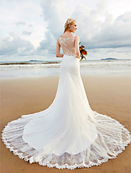 cheap -Mermaid / Trumpet V-neck Chapel Train Lace Wedding Dress with Appliques Lace by LAN TING BRIDE®