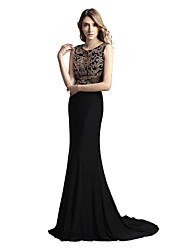 cheap -Mermaid / Trumpet Jewel Neck Court Train Linen Prom Formal Evening Dress with Beading by Sarahbridal