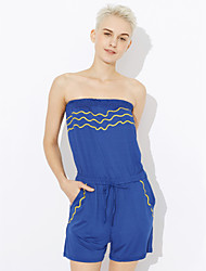cheap -Women's Beach Club Street chic Romper Backless Print Strapless