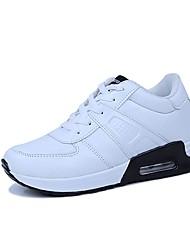 Feminino Sapatos Couro Ecológico Todas as Estações Conforto Solados com Luzes Tênis Caminhada Para Atlético Branco Preto