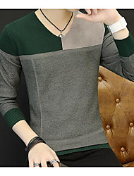 cheap -Men's Daily Casual Short Pullover,Color Block Round Neck Long Sleeve Cotton Acrylic Winter Autumn Medium strenchy
