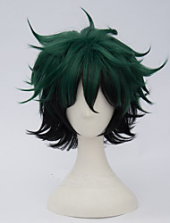 cheap -Synthetic Wig kinky Straight Synthetic Hair Green Wig Women's Short Capless