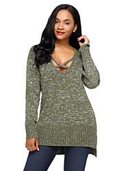 cheap -Women's Holiday Going out Sexy Knitting Solid V Neck Sweater Pullover, Long Sleeves Winter