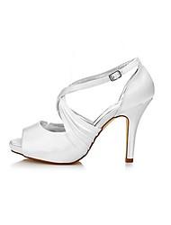 preiswerte -Damen Schuhe Seide Frühling / Herbst Pumps Hochzeit Schuhe Stöckelabsatz Peep Toe Seiten-drapiert Weiß / Party & Festivität
