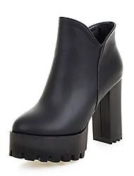 baratos -Mulheres Sapatos Courino Inverno Botas da Moda Botas Salto Robusto Ponta Redonda Botas Curtas / Ankle para Branco Preto Cinzento
