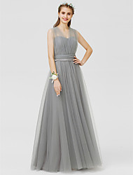 cheap -A-Line Princess V Neck Floor Length Tulle Bridesmaid Dress with Bow(s) Sash / Ribbon Ruched by LAN TING BRIDE®