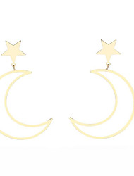 cheap -Women's Star Stud Earrings - Metallic Fashion Moon Star For Party Going out