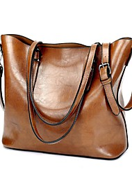 cheap -Women Bags PU Shoulder Bag Zipper for Casual All Season Black Coffee Brown Wine