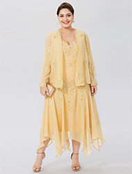 cheap -A-Line V-neck Asymmetrical Chiffon Plus Size Mother of the Bride Dress with Beading Appliques by LAN TING BRIDE®