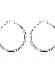 cheap -Women's Hoop Earrings Vintage Sweet Lovely Fashion Hypoallergenic Copper Silver Plated Circle Jewelry For Daily Evening Party