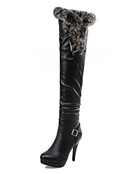 Women's Shoes Leatherette Winter Comfort Novelty Fashion Boots Bootie Boots Thigh-high Boots Zipper For Wedding Casual Black White
