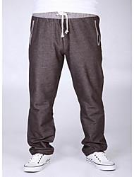 abordables -Homme Décontracté Taille Normale Micro-élastique Chino Pantalon Toutes les Saisons Couleur Pleine