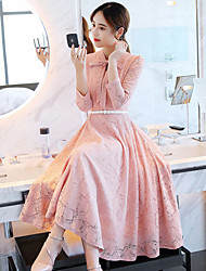 cheap -Women's Going out Cute Swing Dress,Solid Round Neck Maxi Long Sleeve Polyester Fall Mid Rise Micro-elastic Thick
