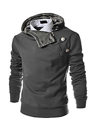 cheap -Men's Plus Size Daily Sports Casual Hoodie Solid Stand Cotton Polyester Long Sleeve Winter Spring Fall