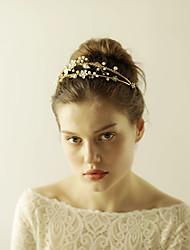 Napodobenina perel Štras Slitina Diadémy Čelenky Květiny Head Chain with Bižuterie Květiny 1ks Svatební Zvláštní příležitosti Přílba