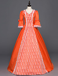 cheap -Victorian Rococo Ladies' One Piece Dress Orange Cosplay Satin Long Sleeves Floor Length