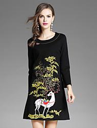 cheap -EWUS Women's Street chic A Line Dress - Embroidered, Flower