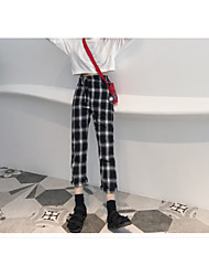 cheap -Women's Mid Rise Inelastic Pants Chinos Pants,Vintage Check Linen Winter Spring/Fall