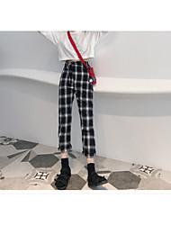 Feminino Vintage Cintura Média Sem Elasticidade Calças Chinos Calças,Calças Chinos Quadriculada