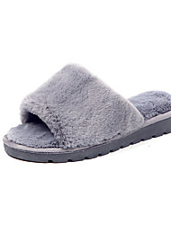Women's Shoes PU Fall Winter Comfort Slippers & Flip-Flops Flat Heel Open Toe For Casual Blushing Pink Red Gray Black