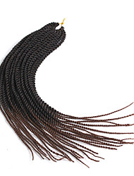 Drejede Fletninger 1pc / pakke Hårkrøller Senegalese twist 56cm Ombre hårfletter Afrikanske fletninger Syntetisk Hår Sort / Medium