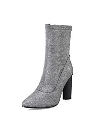 cheap -Women's Shoes Sparkling Glitter Spring Fall Novelty Fashion Boots Boots Pointed Toe Mid-Calf Boots For Wedding Party & Evening Silver Gold