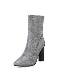 Feminino Sapatos Glitter Primavera Outono Inovador Botas da Moda Botas Dedo Apontado Botas Cano Médio Para Casamento Festas & Noite