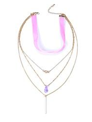 cheap -Women's Shape Elegant Fashion Gothic Rock European Layered Necklace Multi-stone Gemstone Alloy Layered Necklace Carnival Masquerade