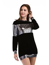 preiswerte -Damen Langarm Lang Pullover Einfarbig