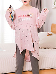 cheap -Women's Suits Pajamas,Animals Cotton Polyester Blushing Pink Light gray