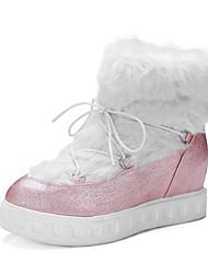 レディース 靴 化繊 冬 秋 コンフォートシューズ ブーツ フラットヒール ラウンドトウ 用途 ブラック ピンク