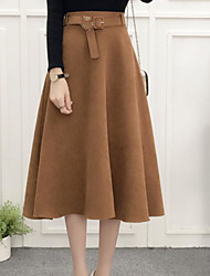 cheap -Women's Skirt Skirts - Solid Color, Basic