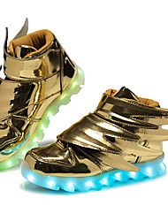 Boys' Shoes Patent Leather Customized Materials All Season Winter Light Up Shoes Comfort Sneakers Magic Tape LED For Casual Outdoor Black