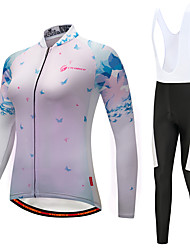 cheap -Cycling Jersey with Bib Tights Women's Long Sleeves Bike Bib Tights Tights Pants / Trousers Jersey Top Clothing Suits Quick Dry 3D Pad