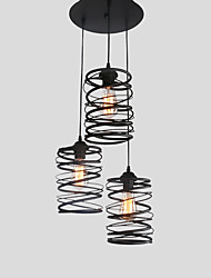 cheap -3 head Vintage Loft Metal Spiral Shade Pendant Lights Kitchen Cafe Dining Room Decoration lighting Painted Finish
