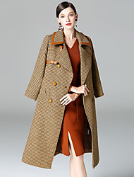 cheap -YHSP Women's Daily Going out Simple Casual Street chic Sophisticated Winter Fall Coat,Houndstooth Shirt Collar Long Sleeves Long Wool Polyester