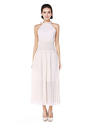 cheap -Women's Daily Going out Casual Street chic A Line Chiffon Swing Dress,Solid Round Neck Midi Sleeveless Cotton Polyester Spring Summer