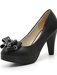 preiswerte -Damen Schuhe PU Frühling Herbst Komfort Neuheit High Heels Spitze Zehe Schleife Schnalle Für Hochzeit Party & Festivität Weiß Schwarz