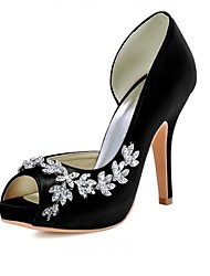 preiswerte -Damen Schuhe Seide Frühling Sommer Pumps High Heels Stöckelabsatz Offene Spitze Peep Toe Runde Zehe Strass für Hochzeit Party & Festivität