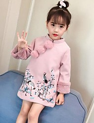 cheap -Girl's Embroidery Dress,Cotton Acrylic Polyester Long Sleeves Casual Chinoiserie Princess Blushing Pink
