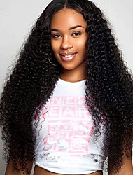 cheap -Women Human Hair Lace Wig Brazilian Human Hair Lace Front 130% Density With Baby Hair Kinky Curly Wig Chestnut Brown Medium Brown Dark