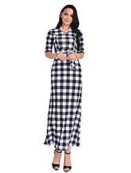 cheap -Women's Daily Sheath Dress,Plaid V Neck Maxi Half Sleeve Polyester All Season Mid Rise Micro-elastic Opaque