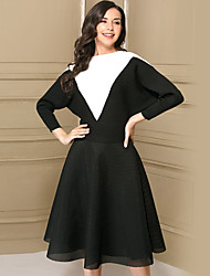 Dámské Barevné bloky Běžné/Denní Jednoduchý Svetr Sukně Obleky Akryl Polyester taft Síťování Dlouhý rukáv Síťka