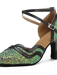 baratos -Sapatos de Dança Moderna Paetês / Couro Sintético Sandália / Salto Laços Salto Personalizado Personalizável Sapatos de Dança Verde / Preto